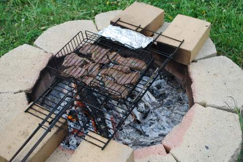 venison steaks cooking over a fire